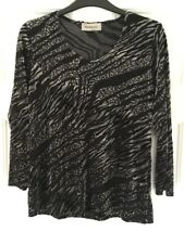 BASSINI ANIMAL/LEOPARD PRINT BLACK/GREY CUT VELVET TOP  SZ M NEW