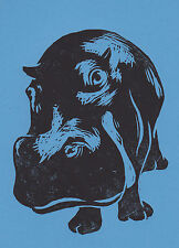 Hippo Open Edition Hand-Pulled Linocut Print Blue Lino Print Art Animals