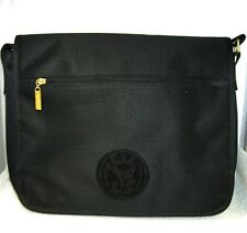 Carlos Falchi Sport Black Moc Croc Print Nylon Messenger Laptop Shoulder Bag