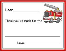 Firetruck FILL IN ~ Kids Custom Thank You or Note Cards