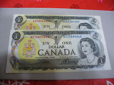 LOT OF 2  1973   CANADA ONE 1 $  DOLLAR BILL  1973  SEE PHOTOS  LOT A
