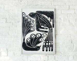 Art Print Block Print Birds Original Limited Edition by Emily Esch unframed