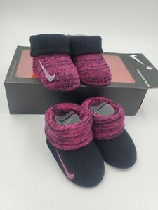 2 Pair Nike Baby Girls Booties, Size 0-6 Months, Pink, Black, Shower Gift MP