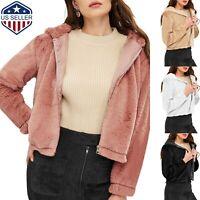 Women's Teddy Bear Fluffy Fleece Hoodies Coat Jacket Winter Thick Warm Outwear