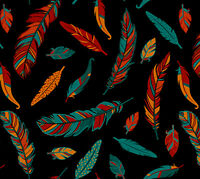 Black Turquoise Red Orange Feathers Cotton Quilting Fabric Tribal Tradition