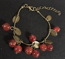 Beautiful Bronze Bunch Red Cherries Fun Fashion Style Bead & Chain Bracelet