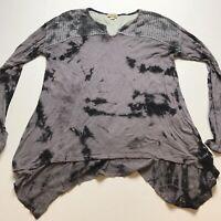 One World Sz M Gray Tie Dye Asymmetric Hem Long Sleeve Top A247