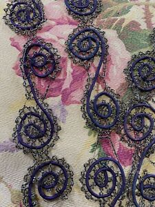 Beautiful Antique Paisley Shaped Purple Corded Irridescent Beaded Trim 3 Pieces