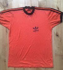 Adidas Orange 70s Vintage T Shirt Logo Size M