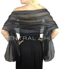 Black Silky Bridal Bridesmaid Wedding/Prom Shawl/Stole/Wrap/Pashmina/Cover Up