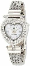 Charles Hubert Stainless Steel Wire Bangle White MOP Heart Dial Watch