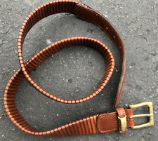 """Exceptional Canali Mens Brown Leather Belt Made In Italy Size 85/34"""""""