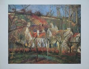 The Red Roofs by Camille Pissarro, impressionist wall art, 35x28cm