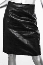 ALAIA Black Leather Panel Detail Fitted Skirt sz. 42