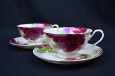 Country Rose Set Of Two Bone China 220 cc Tea Cup And Saucer