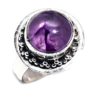 Amethyst Gemstone Handmade Ring 925 Sterling Silver Jewelry Size 8 E105