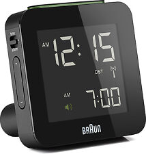 Réveil Quartz BRAUN Noir - Radio-Piloté - Interface LCD - BNC009BK-RC