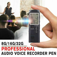 LCD Mini Hidden Audio Recorder Voice Activated Listening Device 8-32GB