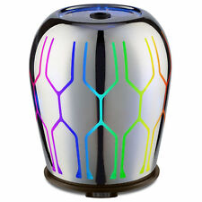 NEW CARVED GLASS AROMATHERAPY ESSENTIAL OIL DIFFUSER QUIET ULTRASONIC LED LIGHTS