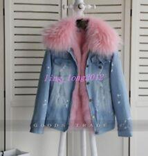 Women Denim Fur Fox Collar Lining Loose Coat Winter Snow Casual Jacket Overcoat