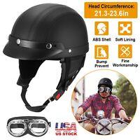 Motorcycle Half Face Helmet Motorbike Cruiser Scooter Helmets w/Pilot Goggles