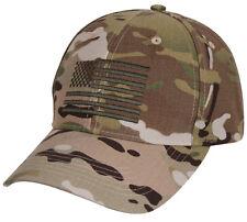 Low Profile MultiCam Camo Military Tactical Operator US Flag Baseball Hat Cap