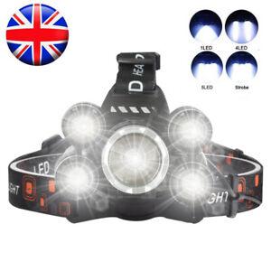 Strong Head Torch LED Headlamp Rechargeable Headlight Lamp Flashlight Waterproof