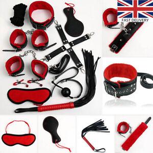 10pcs SM Bondage Restraints Set Kit Ball Gag Cuff Whip Collar Fetish toy UK
