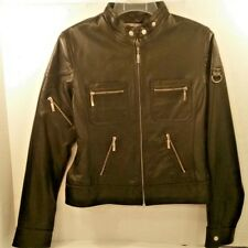 Clio Leather Black Motorcycle Biker Short JACKET Coat Zippers Small Womens 4
