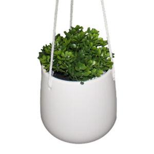 """Ceramic 5"""" Hanging Planter Indoor Plant Holder W/ Rope Hanger Flower Pot Basket"""