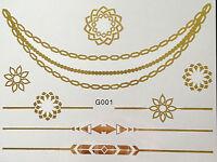 solo uso Tatuaje Flash Temporal Classic Gold 8teile Pulsera cadena de cuello