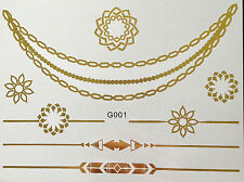 Disposable Temporary Flash Tattoo Classic Gold 8 Pieces Bracelet Neck Chain Body