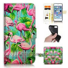 ( For iPod Touch 6 ) Wallet Flip Case Cover AJ21469 Flamingo Bird