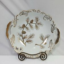 Bowl Medium White Gold Pine Cone Accent Double Handle Collectible Mcm 8.5in