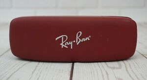 "Ray Ban Eye Glasses Case Hard Box Red Leather 6 3/4"" x 2 1/8"" Gatto PRC-JS-01"