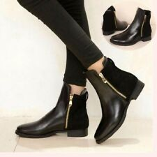 Fashion Women Short Ankle Zipper Martin Boots Black Low Flat Heel Bootie Shoes