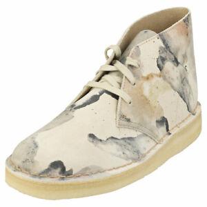 Clarks Originals Desert Coal Mens Off White Camouflage Desert Shoes - 9 US