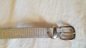 "YOUTH GIRLS ELITE BRAND METALLIC SILVER BLING GLITTER BELT SZ S,1""WIDE,24-28""L,"