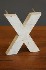 """Vintage Cast Metal Letter X Medical X ray wall hanger sign white old plaque 6"""""""