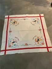 "Antique Hand Embroidered ""God Jul"" Scandinavian Tablecloth - 50"" x 50"""