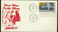 C76 Moon Landing Cachet 1969 Dual Cancel UA Apollo 11 First Day Cover LOT 1244