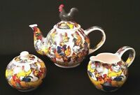 Lot Of 3 Ceramic Large Teapot Creamer Sugar Bowl Roosters 2008 Paul Cardew Used