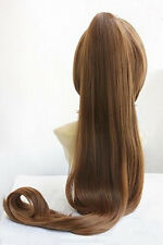 Beautiful New long Brown clip ponytail Cosplay wig + Wig cap