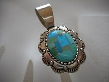 Sterling Silver Carolyn Pollack Inlaid Shades of Turquoise Pendant  585660