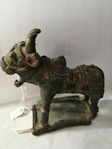 VERY OLD VINTAGE METAL Oxon/Bull FIGURE ON BASE HEAVY  TOY