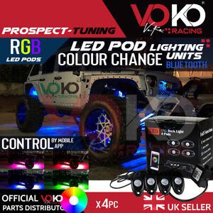 UK 4Pcs RGB LED Rock Lights Wireless Bluetooth Flashing 4x4 JEEP TRUCK 9W VKOV15