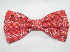 Red Bandana Bow Tie / Country Western Bow tie / Pre-tied Bow tie