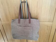 EAST Brown Jute Tote Bag Cotton Lined with 100% Leather Shoulder Straps