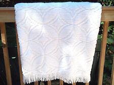 "Vtg White Chenille Bedspread w/ Double Wedding Ring Pattern,98"" X105"",Estate"