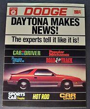 1984 Dodge Daytona Road Tests Catalog Brochure Turbo Z Excellent Original 84